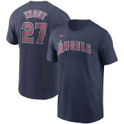 Wholesale Cheap Los Angeles Angels #27 Mike Trout Nike Name & Number T-Shirt Navy