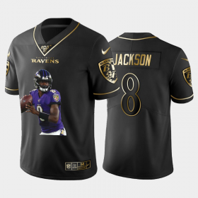 Cheap Baltimore Ravens #8 Lamar Jackson Nike Team Hero 5 Vapor Limited NFL 100 Jersey Black Golden