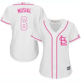 Wholesale Cheap Cardinals #6 Stan Musial White/Pink Fashion Women\'s Stitched MLB Jersey
