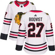 Wholesale Cheap Adidas Blackhawks #27 Adam Boqvist White Road Authentic Women's Stitched NHL Jersey