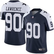 Wholesale Cheap Nike Cowboys #90 Demarcus Lawrence Navy Blue Thanksgiving Men's Stitched NFL Vapor Untouchable Limited Throwback Jersey