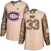 Wholesale Cheap Adidas Canadiens #33 Patrick Roy Camo Authentic 2017 Veterans Day Stitched Youth NHL Jersey