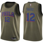 Wholesale Cheap 76ers #12 Tobias Harris Green Basketball Swingman Salute to Service Jersey