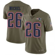 Wholesale Cheap Nike Patriots #26 Sony Michel Olive Youth Stitched NFL Limited 2017 Salute to Service Jersey