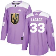 Wholesale Cheap Adidas Golden Knights #33 Maxime Lagace Purple Authentic Fights Cancer Stitched Youth NHL Jersey