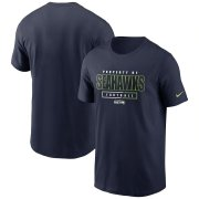 Wholesale Cheap Seattle Seahawks Nike Team Property Of Essential T-Shirt College Navy
