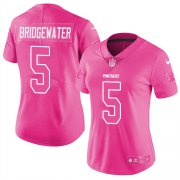 Wholesale Cheap Nike Panthers #5 Teddy Bridgewater Pink Women's Stitched NFL Limited Rush Fashion Jersey