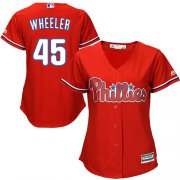 Wholesale Cheap Phillies #45 Zack Wheeler Red Alternate Women's Stitched MLB Jersey
