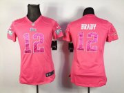 Wholesale Cheap Nike Patriots #12 Tom Brady Pink Sweetheart Women's Stitched NFL Elite Jersey