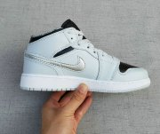 Wholesale Cheap Womens Jordan 1 Retro Shoes Wolf Grey/Black-Silver