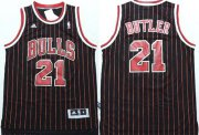 Wholesale Cheap Chicago Bulls #21 Jimmy Butler Revolution 30 Swingman Black Pinstripe Jersey