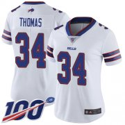 Wholesale Cheap Nike Bills #34 Thurman Thomas White Women's Stitched NFL 100th Season Vapor Limited Jersey