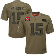 Wholesale Cheap Youth Kansas City Chiefs #15 Patrick Mahomes Nike Camo 2019 Salute to Service Game Jersey
