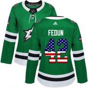 Cheap Adidas Stars #42 Taylor Fedun Green Home Authentic USA Flag Women's Stitched NHL Jersey