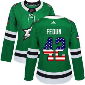 Cheap Adidas Stars #42 Taylor Fedun Green Home Authentic USA Flag Women\'s Stitched NHL Jersey