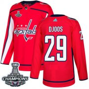 Wholesale Cheap Adidas Capitals #29 Christian Djoos Red Home Authentic Stanley Cup Final Champions Stitched NHL Jersey