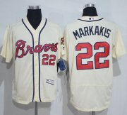 Wholesale Cheap Braves #22 Nick Markakis Cream Flexbase Authentic Collection Stitched MLB Jersey