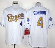 Wholesale Cheap Royals #4 Alex Gordon White 2015 World Series Champions Gold Program Stitched MLB Jersey