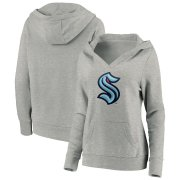 Wholesale Cheap Seattle Kraken Women's Primary Logo Pullover Hoodie Heather Gray