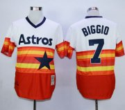 Wholesale Cheap Mitchell And Ness 1980 Astros #7 Craig Biggio White/Orange Throwback Stitched MLB Jersey