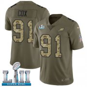Wholesale Cheap Nike Eagles #91 Fletcher Cox Olive/Camo Super Bowl LII Men's Stitched NFL Limited 2017 Salute To Service Jersey