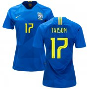 Wholesale Cheap Women's Brazil #17 Taison Away Soccer Country Jersey
