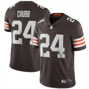 Wholesale Cheap Cleveland Browns #24 Nick Chubb Men's Nike Brown 2020 Vapor Limited Jersey