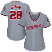 Wholesale Cheap Nationals #28 Kurt Suzuki Grey Road Women's Stitched MLB Jersey