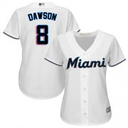 Wholesale Cheap Marlins #8 Andre Dawson White Home Women's Stitched MLB Jersey