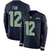 Wholesale Cheap Nike Seahawks #12 Fan Steel Blue Team Color Men's Stitched NFL Limited Therma Long Sleeve Jersey