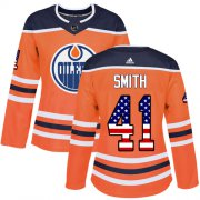 Wholesale Cheap Adidas Oilers #41 Mike Smith Orange Home Authentic USA Flag Women's Stitched NHL Jersey