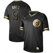 Wholesale Cheap Nike Cubs #9 Javier Baez Black Gold Authentic Stitched MLB Jersey