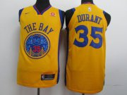 Wholesale Cheap Nike Golden State Warriors #35 Kevin Durant Gold City Edition Authentic Jersey