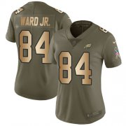 Wholesale Cheap Nike Eagles #84 Greg Ward Jr. Olive/Gold Women's Stitched NFL Limited 2017 Salute To Service Jersey