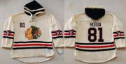 Wholesale Blackhawks #81 Marian Hossa Cream Heavyweight Pullover Hoodie Stitched NHL Jersey