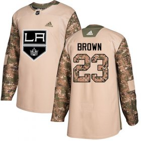 Wholesale Cheap Adidas Kings #23 Dustin Brown Camo Authentic 2017 Veterans Day Stitched Youth NHL Jersey