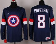 Wholesale Cheap Olympic Team USA #8 Joe Pavelski Navy Blue Captain America Fashion Stitched NHL Jersey