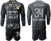 Wholesale Cheap Dortmund #34 Bruun Larsen Away Long Sleeves Soccer Club Jersey