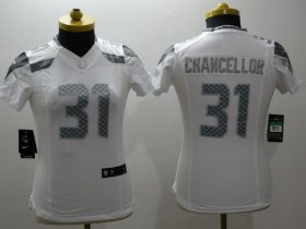 Wholesale Cheap Nike Seahawks #31 Kam Chancellor White Women\'s Stitched NFL Limited Platinum Jersey