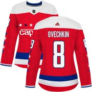 Wholesale Cheap Adidas Capitals #8 Alex Ovechkin Red Alternate Authentic Women's Stitched NHL Jersey