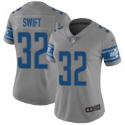 Wholesale Cheap Nike Lions #32 D'Andre Swift Gray Women's Stitched NFL Limited Inverted Legend Jersey