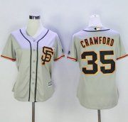 Wholesale Cheap Giants #35 Brandon Crawford Grey Women's Road 2 Stitched MLB Jersey