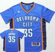 Wholesale Cheap Men's Oklahoma City Thunder #35 Kevin Durant Revolution 30 Swingman 2014 New Blue Short-Sleeved Jersey