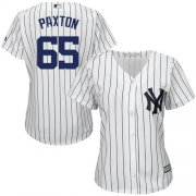 Wholesale Cheap Yankees #65 James Paxton White Strip Home Women's Stitched MLB Jersey