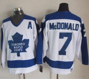 Wholesale Maple Leafs #7 Lanny McDonald White/Blue CCM Throwback Stitched NHL Jersey