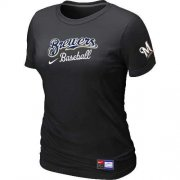 Wholesale Cheap Women's Milwaukee Brewers Nike Short Sleeve Practice MLB T-Shirt Black