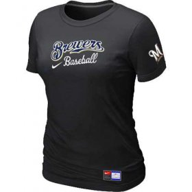 Wholesale Cheap Women\'s Milwaukee Brewers Nike Short Sleeve Practice MLB T-Shirt Black