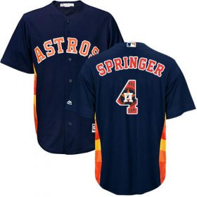 Wholesale Cheap Astros #4 George Springer Navy Blue Team Logo Fashion Stitched MLB Jersey