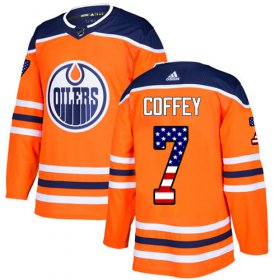 Wholesale Cheap Adidas Oilers #7 Paul Coffey Orange Home Authentic USA Flag Stitched NHL Jersey