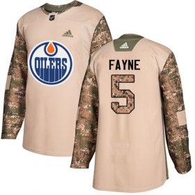 Wholesale Cheap Adidas Oilers #5 Mark Fayne Camo Authentic 2017 Veterans Day Stitched NHL Jersey